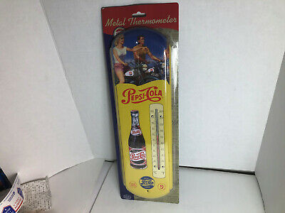 Retro PEPSI Cola yellow Indoor Outdoor metal tin Thermometer vtg throwback repro