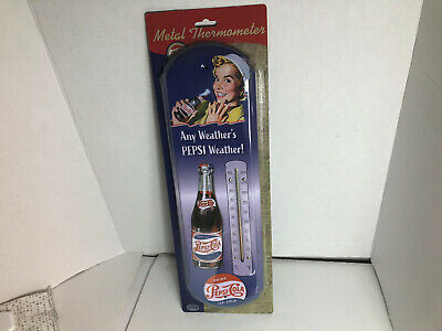 Retro PEPSI Cola blue Indoor Outdoor metal tin Thermometer vtg throwback repro
