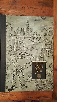 Vintage 1958 National Geographic Society Atlas Folio 57 Maps Hard Cover