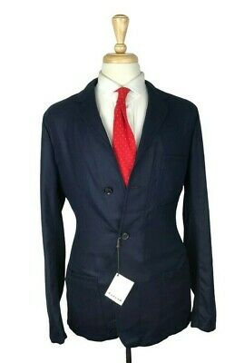 NWT $1595 Caruso 42R/L Cotton/Cashmere/Silk Jersey Sport Coat Jacket Navy Blue