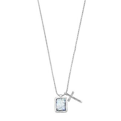 Ancient Roman Glass and Cross Necklace Sterling Silver