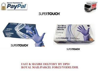 100 Disposable Gloves Nitrile Powder Free Latex Free Medical Blue Supertouch