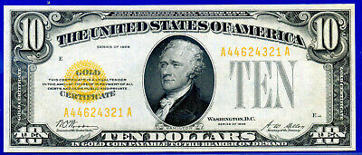 1928 $10 (( Gold Certificate )) Appears Uncirculated # A44624321A.