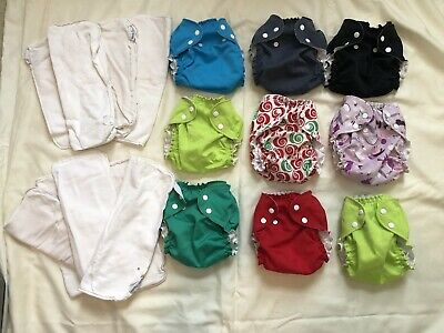 Applecheeks LOT of 9 Cloth Diapers, Size 2, with Bamboo Inserts