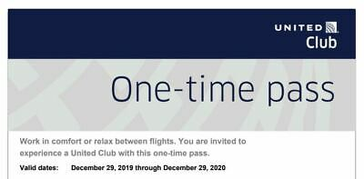 United Airlines Club Airport Lounge One-Day Pass E-Delivery Exp 12/2020