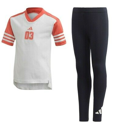 Adidas Tee and Tights Set Young Girls Active Outfit