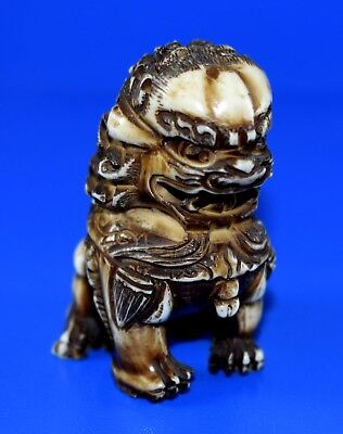 Vintage Carved Resin Oriental Foo Dog Figure