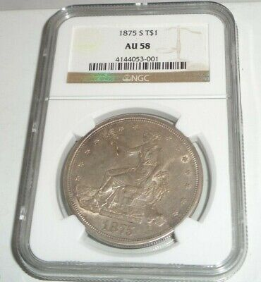 1875 S US $1 Trade Dollar TR$ Coin NGC AU 58 Almost Uncirculated San Francisco