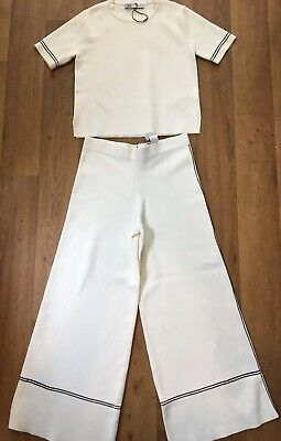 BN ZARA CREAM KNITTED 2-PIECE TOP & TROUSERS SET ~ Size Small