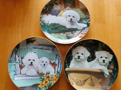 Lot of 3 The Danbury Mint Bichon Frise Collector Plates ~ Limited Edition