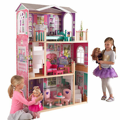 18-Inch Dollhouse Doll Manor Accessories Four Rooms Balcony Two Staircases Wood