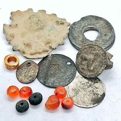 Ancient & Medieval Islamic Artifact Lot - Coins Buttons Beads - Rare Old Relics