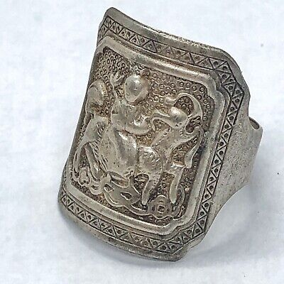 Antique Chinese Hammered Ring W/ Asian Image Silver Tone Jewelry Vintage Old Art