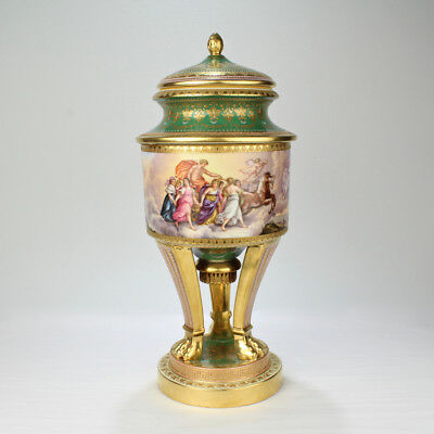 Large Gilt & Hand-Painted Royal Vienna Porcelain Covered Urn or Vase - PC