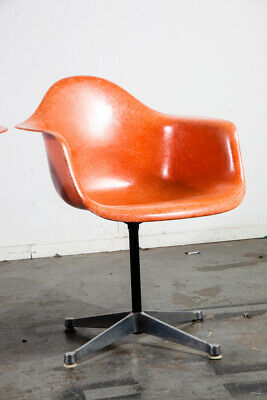 Mid Century Modern Lounge Chair Ray Eames Herman Miller DAX Orange Red Arm Shell