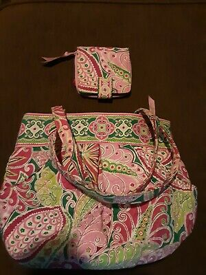 Vera Bradley Round Pleated Tote Purse And Matching Wallet (Pinwheel Pink)