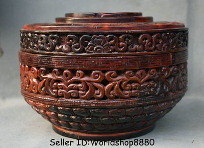 """8.2"""" Marked Old Chinese Ox Horn Dynasty Palace Dragon Beast Jewelry box Boxes"""