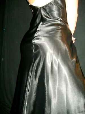 Vtg Satin Shiny Doppler Lace Slit Glam Hollywood 40S Style Nightgown Gown 48/50