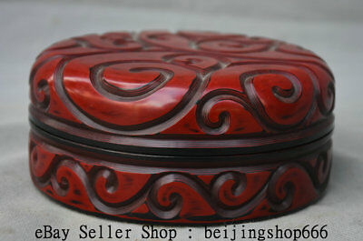 "5.8"" Qianlong Marked Old Chinese Qing Red lacquerware Dynasty Palace Jewelry box"