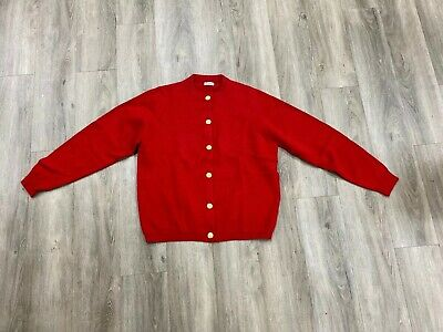 Vintage 100 % Pure Cashmere Made In Scotland Ladies Red Cardigan S/M Rare