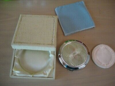 Elegant vintage art deco Face Powder Compact Case in box  Never used