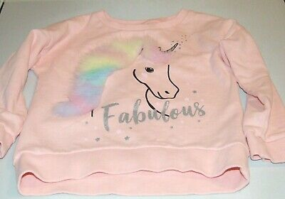 Tu Jumper Girls Age 7 With Unicorn With Fur Mane Peach Used Good Condition