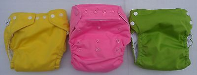 Lot of 3 Cloth Diapers Baby Kangas Blueberry Fuzzibunz AIO Pink Snap All in One
