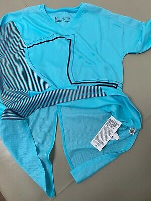 Older Girls Under Armour Turquoise Heat Gear Sports Top Youths XL