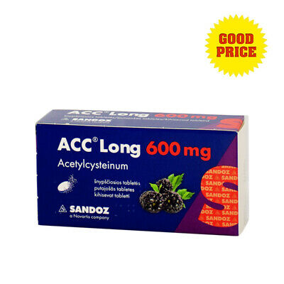 ACC Long 600mg Mucus Cough Cold Flu Bronchitis Bronchial Sore Throats 10 tablets