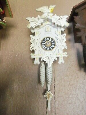 White Hand Painted  Wooden Black Forest  Regula Cuckoo Clock West Germany