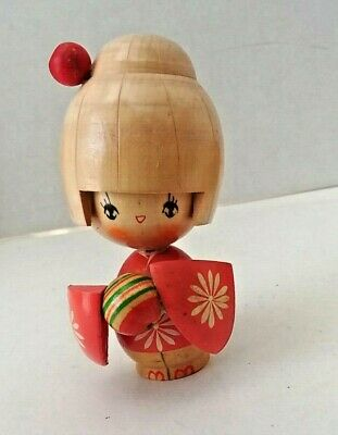 VTG Japanese Kokeshi Wooden Doll Geisha Mini Girl Ball Kimono Carved Art Painted