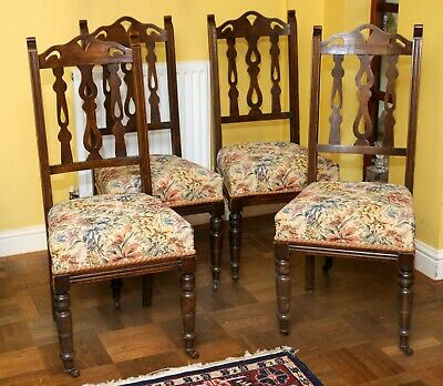 Arts & Crafts / Victorian / Edwardian dining chairs, x4, good / fair condition,