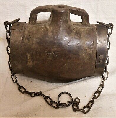 Great Antique Wooden Canteen, Carved From One Piece Of Wood