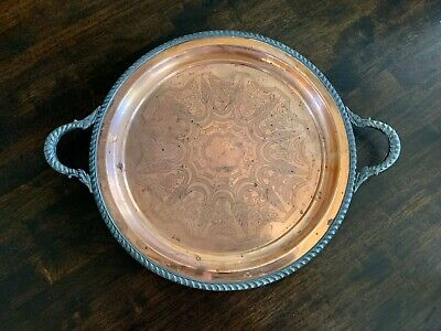 """William Rogers Copper & Silverplated Platter Vintage large 14"""" Heavy!"""
