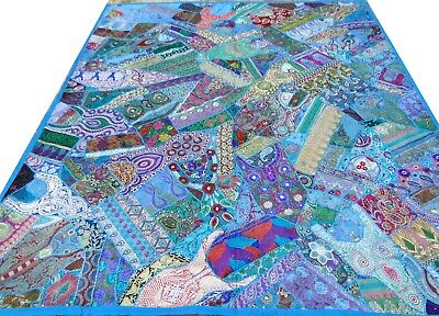 Quilt Patchwork Blue King Turquoise Indian Bed Cover Handmade Vintage Patches T