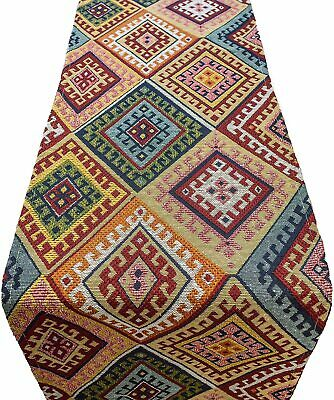 Turkish Kilim Table Runner. Geometric Abstract Tapestry Dinner Party Decoration.