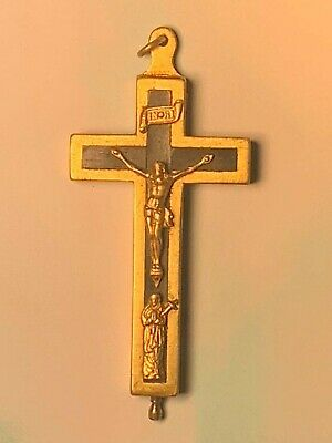 Antique Religious Byzantine Bronze Hinged Reliquary Cross