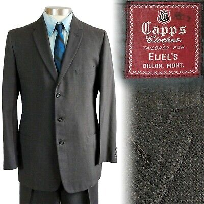 Vintage 1950s Capps Three Button Gray Suit 40 35x30