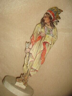 "Antique Primitive 7.5"" Hand Carved, Painted Native American Chief Figure America"
