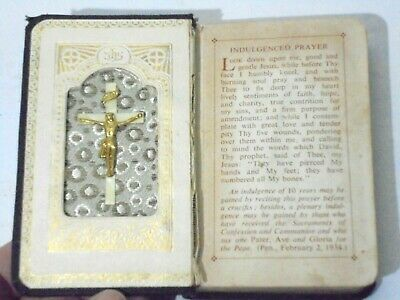Vintage 1950s Children's Prayer Book Father Power with Cross Inset Catholic