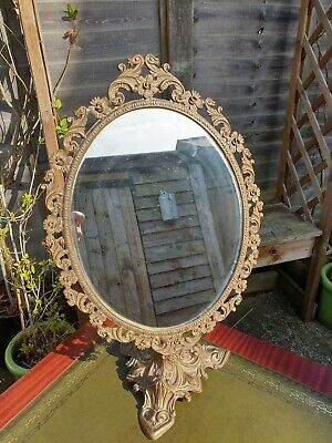 Free Standing Italian Continental Gilt Framed Metal Gold Mirror