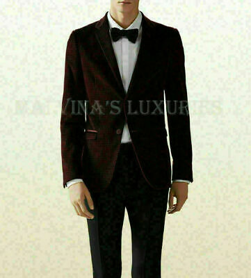 Gucci Mens Jacket Dylan Single Breasted Burgundy Velvet Two Button $1,990 50 / M