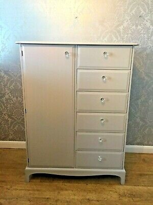 Tall Boy Stag 6 Drawers Wardrobe Gentleman's Painted Laura Ashley Shabby Chic
