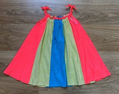 M&S Girls Pink Yellow & Blue Panelled Swing Towelling Dress Age 3-4