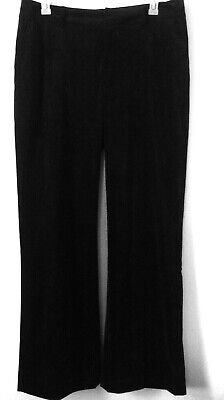 Coldwater Creek Crushed Velvet Pant Women's Size 16 Stretch Color Black Boot Cut