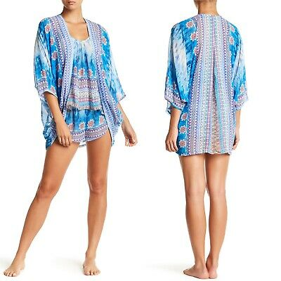In Bloom by Jonquil Robe Kimono Size Medium Print Cocoon Wrapper Blue Purple NWT