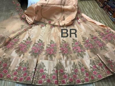 work Satin silk with Net attach work lehenga Net attach blouse material