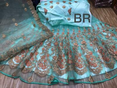 Satin tafeta silk with net attach work lehenga with net attach blouse material