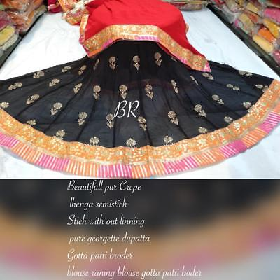 Traditional pure crepe lhenga with out lining pur Georgette duptta blouse raning