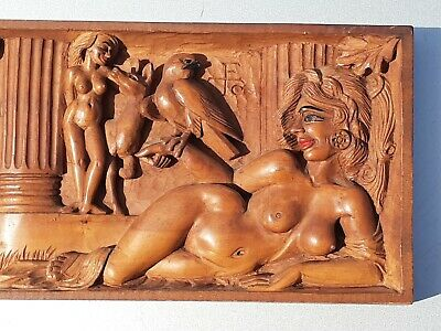 Vintage Hand Carving Wood Wooden Relief Naked women Wall  Hanging Plaque